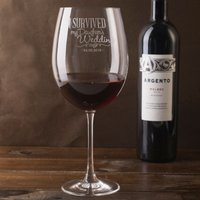 Engraved Giant Wine Glass - Survived - Wine Glass Gifts
