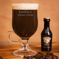 Personalised Irish Coffee Glass With Baileys Miniature - Special Coffee - Baileys Gifts