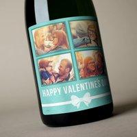 Photo Upload Valentines Champagne - Ribbon, 4 Photos