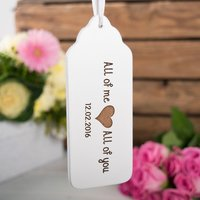 Personalised Wooden White Painted Key Ring - All Of Me - Key Ring Gifts