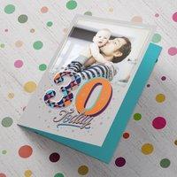 Photo Upload 30th Birthday Card - Orange, Blue & Grey - 30th Gifts