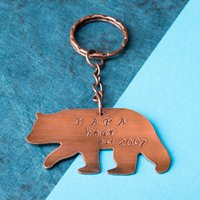 Personalised Copper Key Ring - Papa Bear - Key Ring Gifts