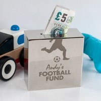 Personalised Silver Small Money Box - Football Fund - Football Gifts