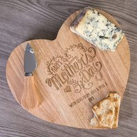 Personalised Heart-Shaped Wooden Cheeseboard Set - Happy Mother's Day