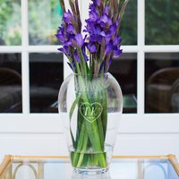 Personalised LSA Flower Grand Bouquet Vase - Initials In Heart - Bouquet Gifts