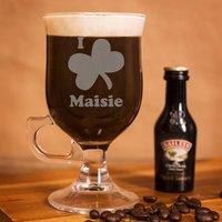Personalised Irish Coffee Glass With Baileys Miniature - Shamrock - Baileys Gifts