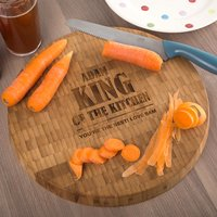 Personalised Large Round Bamboo Chopping Board - King Of The Kitchen - Chopping Board Gifts