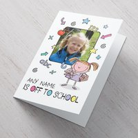 Photo Upload Card - She's Off To School - School Gifts