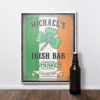 Personalised 'Irish Bar' Wooden Hanging Sign