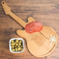 Personalised Guitar Chopping Board - Rock On Daddy - Music Gifts