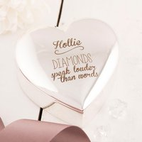 Engraved Silver-Plated Heart Trinket Box - Diamonds Speak Louder - Diamonds Gifts