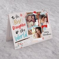 Christmas Multi Photo Upload Card - Best Daughter In The World - Daughter Gifts
