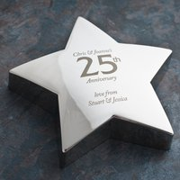 Engraved '25th Anniversary' Silver Star Paperweight - Wedding Anniversary Gifts