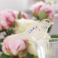Vintage Lace - Ivory Bird Place Card For Glass (Pack Of 10) - Ivory Gifts