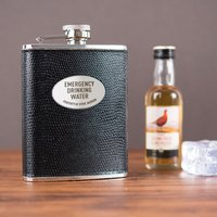 Engraved Leather Hip Flask & Gift Box - Emergency Drinking Water - Hip Flask Gifts