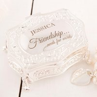 Engraved Antique-Style Trinket Box - Friendship Needs Few Words - Friendship Gifts