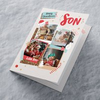 Multi Photo Upload Christmas Card - Four Photos Son - Photos Gifts