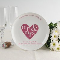 Personalised Bone China Plate - Mr & Mrs Red Heart Design - Design Gifts