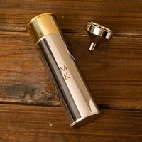 Personalised Stainless Steel Gun Cartridge Hip Flask - Initials - Gun Gifts