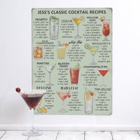Image of Personalised 'Classic Cocktail Recipes' Metal Sign