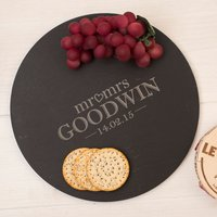 Personalised Circular Slate Cheese Board - Mr & Mrs Est. - Cheese Board Gifts