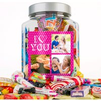 Photo Upload Retro Sweet Jar - I Heart You, 3 Photos - Photos Gifts