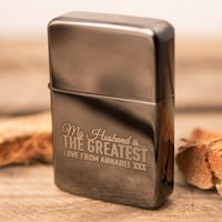 Personalised Black Lighter - The Greatest Husband - Lighter Gifts
