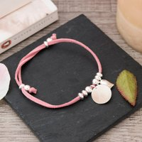 Engraved Suede Bracelet With Heart & Disc - Initial - Jewellery Gifts