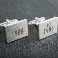Engraved Rectangle Cufflinks - Established - Cufflinks Gifts