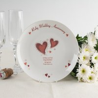 Personalised Bone China Plate - Ruby Anniversary Hearts - Wedding Anniversary Gifts