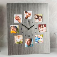 8 Picture Silver Photo Clock - Picture Gifts