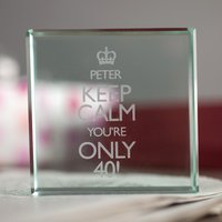 Personalised Glass Token - 40th Keep Calm - 40th Gifts