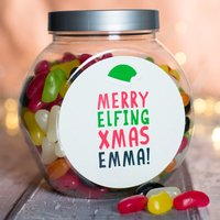 Personalised Jelly Beans Jar - Merry Elfing Xmas - Xmas Gifts