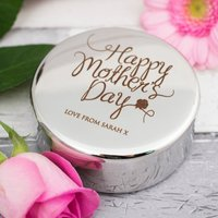 Engraved Circular Trinket Box - Mother's Day Rose
