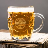 Personalised Dimple Pint Glass - Promoted To Grandad - Grandad Gifts
