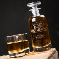 Engraved Decanter & Shot Glass Set - World's Best Husband, 10th Anniversary - Shot Glass Gifts
