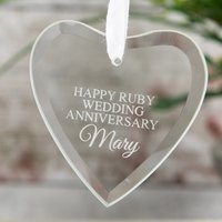 Personalised Hanging Glass Heart Keepsake - Ruby Wedding Anniversary - Wedding Anniversary Gifts