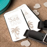 Personalised Stainless Steel Luggage Tags - Sun Sea Sand - Sand Gifts