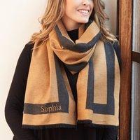 Personalised Lisa Angel Grey & Camel Reversible Wrap Scarf - Angel Gifts