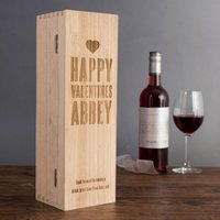 Personalised Luxury Wooden Wine Box - Happy Valentine's Day