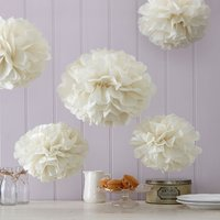Vintage Lace - Ivory Tissue Paper Pompoms - Ivory Gifts