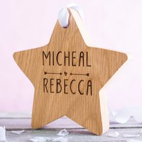 Image of Personalised Hanging Wooden Star - Cupid's Arrow