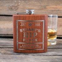 Personalised Harvey Makin Wood-Effect Hip Flask- Unique Blend - Unique Gifts