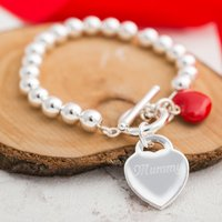 Personalised Red Heart Silver-Plated Ball Bracelet