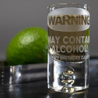 Personalised Shot Glass with Miniature - Warning - Shot Glass Gifts