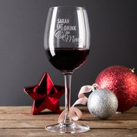 Personalised Wine Glass - Eat, Drink & Be Merry - Glass Gifts
