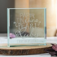 Personalised Glass Token - Ruby Anniversary - Wedding Anniversary Gifts