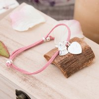 Engraved Suede Bracelet With Fairy & Heart - Choose From 3 Colours - Colours Gifts
