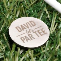 Engraved Stainless Steel Golf Ball Marker - Let's Par Tee - Golf Gifts