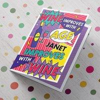 Personalised Birthday Card - Cartoon Strip Wine - Cartoon Gifts